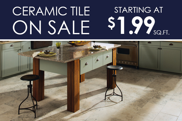 Ceramic Tile on sale starting at only $1.99 Sq.ft. Only at The Carpet Barn in North Little Rock and Pine bluff, Arkansas