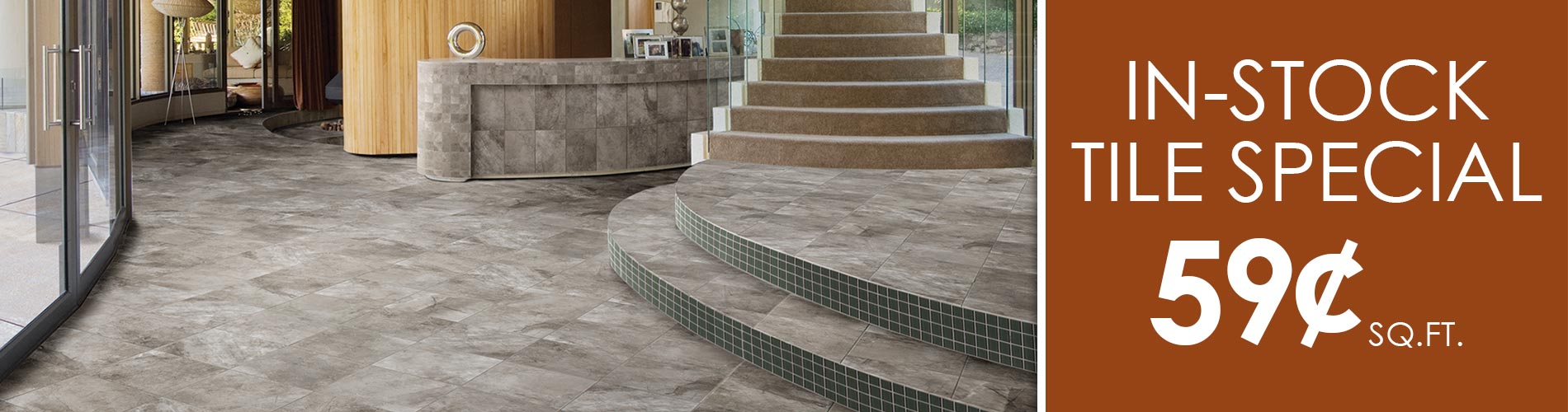 In-Stock tile special going on now! In-Stock tile starting at only 99¢ Sq.ft. Only at The Carpet Barn in North Little Rock and Pine bluff, Arkansas